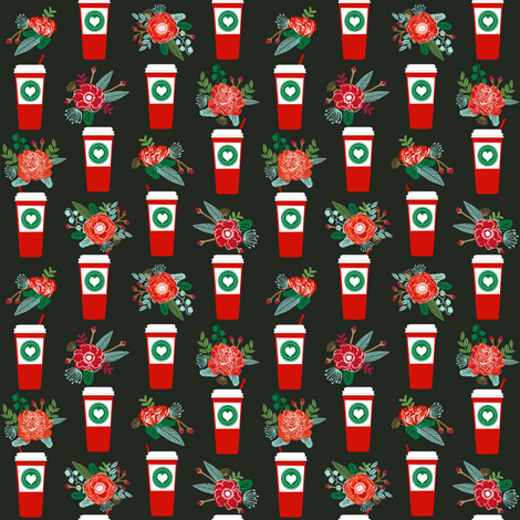 christmas coffees red cups flowers florals cute girls coffee fabric fabric by charlottewinter on Spoonflower - custom fabric