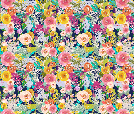 Autumn Blooms Painted Floral // Navy fabric by theartwerks on Spoonflower - custom fabric