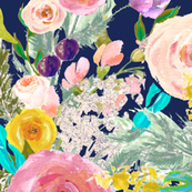 Autumn Blooms Painted Floral // Navy