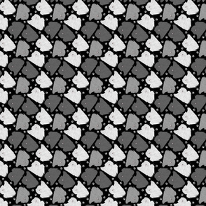 Trotting Pulik and paw prints - tiny black