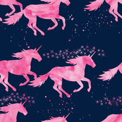 watercolor unicorns || pink on navy