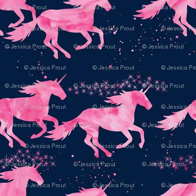 watercolor unicorns || pink on navy