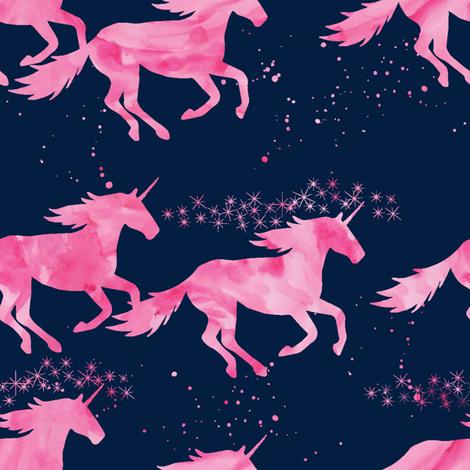 watercolor unicorns || pink on navy fabric by littlearrowdesign on Spoonflower - custom fabric