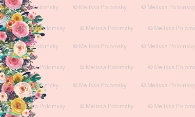 Autumn Blooms Floral Border // Pink