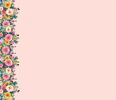 Autumn Blooms Floral Border // Pink  fabric by theartwerks on Spoonflower - custom fabric