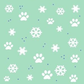 Snowflakes & Paw Prints in Winter blue and white