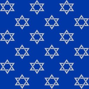 One Inch Matte Silver Star of David on Blue