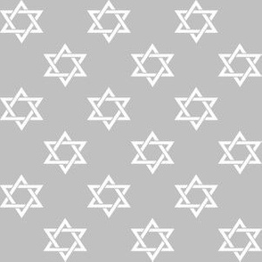 One Inch White Star of David on Matte Silver