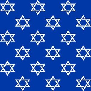 One Inch White Star of David on Blue