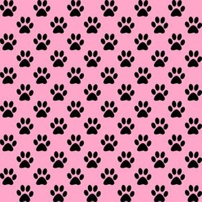 Half Inch Black Paw Prints on Carnation Pink