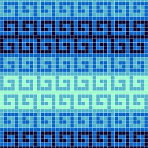 greek mosaic stripe : arctic blues