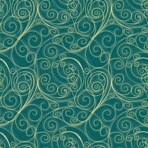 Project 51 | Zentangle Filigree Swirls | Gold on Teal