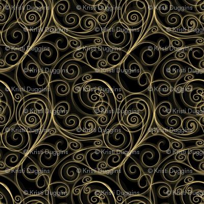 Project 51     Filigree Swirls   Gold on Black