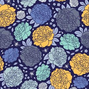 Midnight Garden | Bold | Gold & Navy Blue