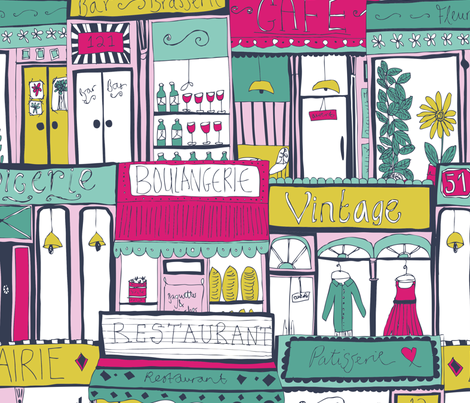 Parisian Shopfronts fabric by jessicahogarth on Spoonflower - custom fabric