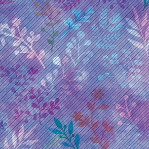 Violet Floral Watercolor Motif