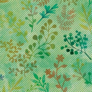 Green Floral Watercolor Motif