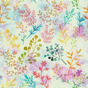 Rainbow Floral Watercolor Motif