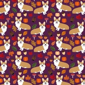corgi autumn leaves fall pumpkin pinecones acorn autumns corgis dog breed fabric