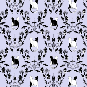 cat damask with haunted houses blue