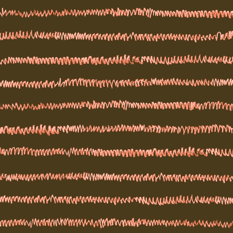 chalk mini-stripe - coral on bronze fabric by weavingmajor on Spoonflower - custom fabric