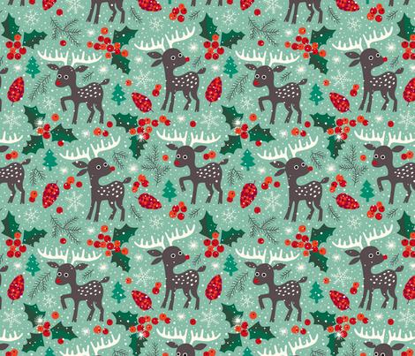 Christmas reindeer in snow fabric by heleen_vd_thillart on Spoonflower - custom fabric