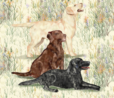 Chocolate Yellow and Black Lab in Wildflowers_2 fabric by eclectic_house on Spoonflower - custom fabric