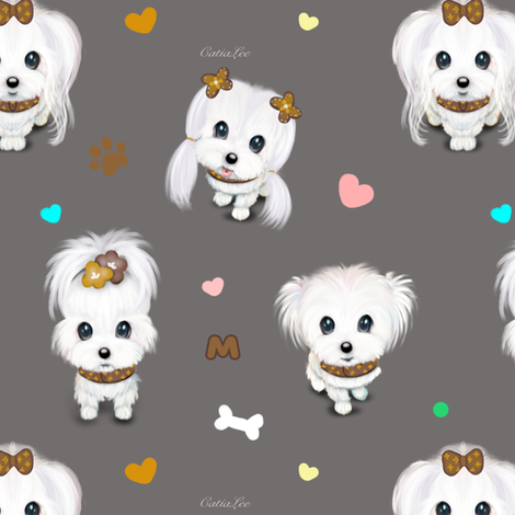 Maltese Fashionista Pack M fabric by catialee on Spoonflower - custom fabric