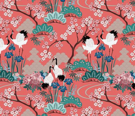 gueth_japanese_garden_frances fabric by juditgueth on Spoonflower - custom fabric