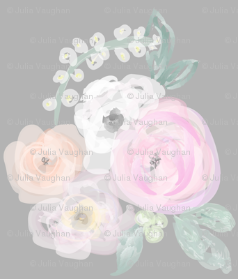Pastel Bouquet on Grey