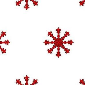 Argent, an Escarbuncle Gules