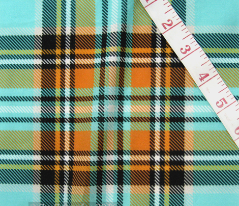 Stewart plaid in Turquoise, Mustard + Orange by Su_G_©SuSchaefer