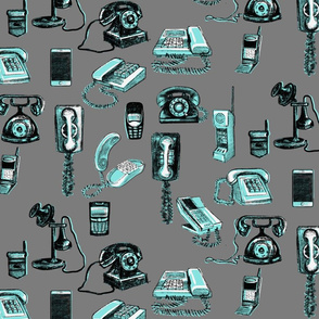 Phones phones phones, grey and turquoise