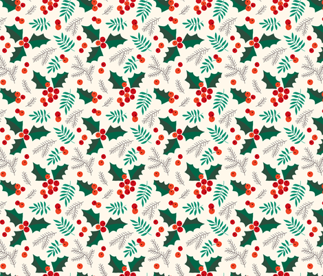 Christmas holly and berries on creme fabric by heleen_vd_thillart on Spoonflower - custom fabric