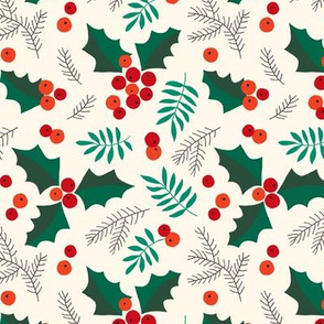 Christmas holly and berries on creme