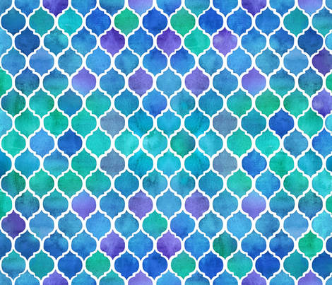 Blue and Green Watercolor Textured Moroccan - small fabric by micklyn on Spoonflower - custom fabric