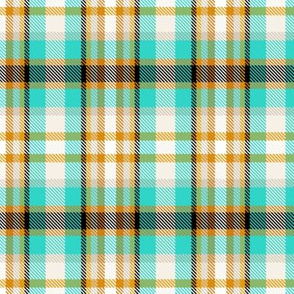 Coolest Turquoise, Mustard + Orange Plaid by Su_G