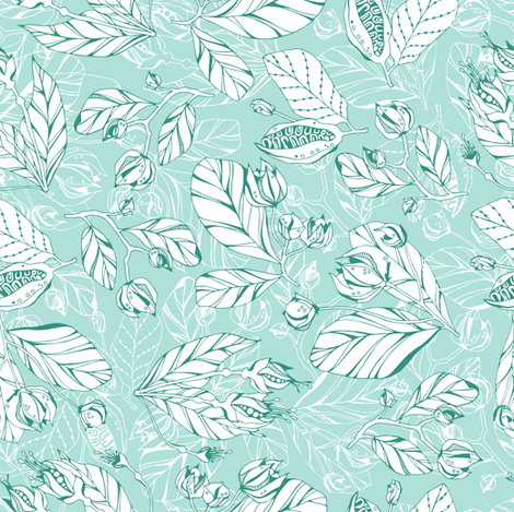Azure leafs fabric by smika88 on Spoonflower - custom fabric