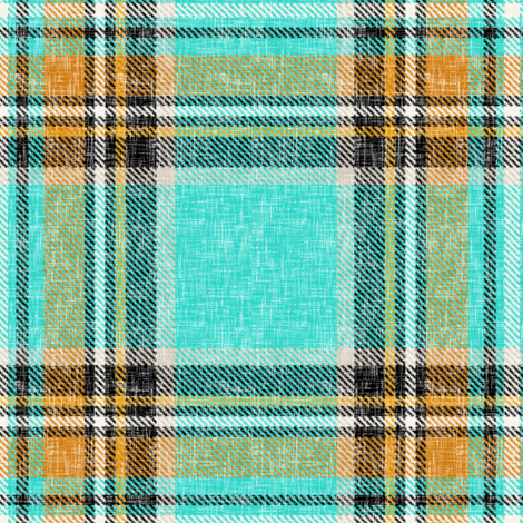 Cooler Stewart plaid in Turquoise, Mustard + Orange Linen-weave by Su_G fabric by su_g on Spoonflower - custom fabric