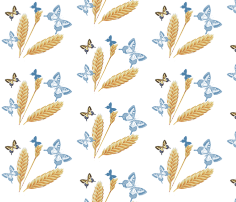 Golden Wheat & Blue Butterflies