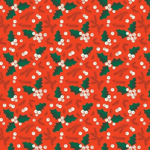 Christmas holly and berries on orange (small)