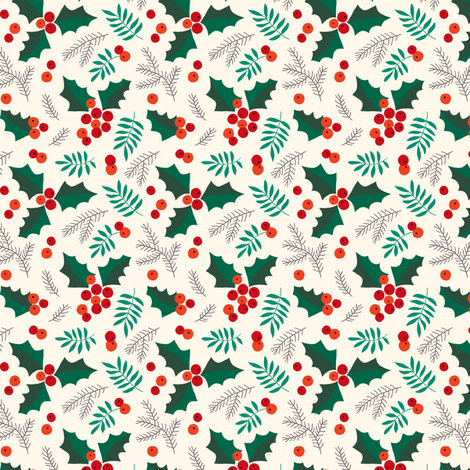 Christmas holly and berries on creme (small) fabric by heleen_vd_thillart on Spoonflower - custom fabric