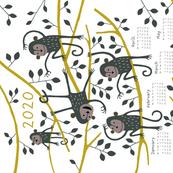 Monkey tea towel calendar 2020
