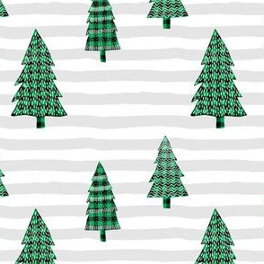 Plaid Green Winter Trees with Stripes