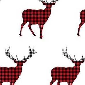 Plaid Deer in Black White & Red