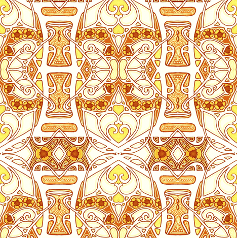 Golden Heart and Flower Conspiracy fabric by edsel2084 on Spoonflower - custom fabric
