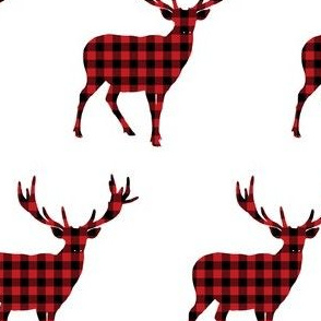 Plaid Deer in Black & Red