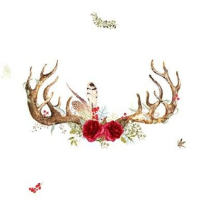 Woodland Floral Boho Antlers