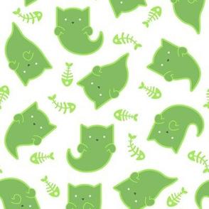Phantom Felines - Green Ghosts on White