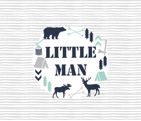 little man kids boys 13 inch square camping moose bear navy mint and grey fabric by charlottewinter on Spoonflower - custom fabric